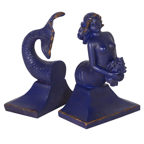 Resin Mermaid Bookends - Navy