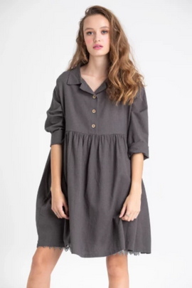 PLUS SIZE PROVENCE DRESS WITH COLLAR | CHARCOAL | MISS ROSE SISTER VIOLET | MELLIE & ME