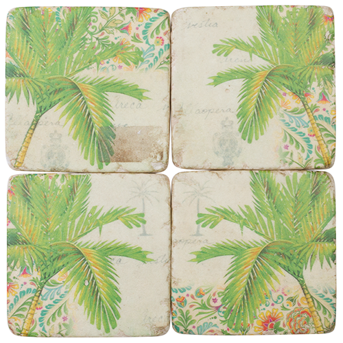 Resin Drink Coaster Set | Palm