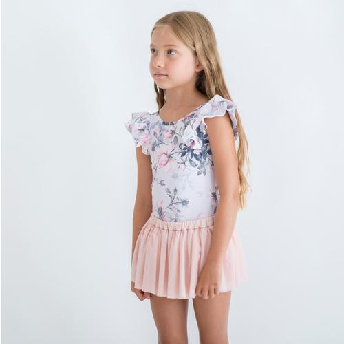 PINK ROSE DOUBLE LUXE FRILL LEOTARD SHORT SLEEVE