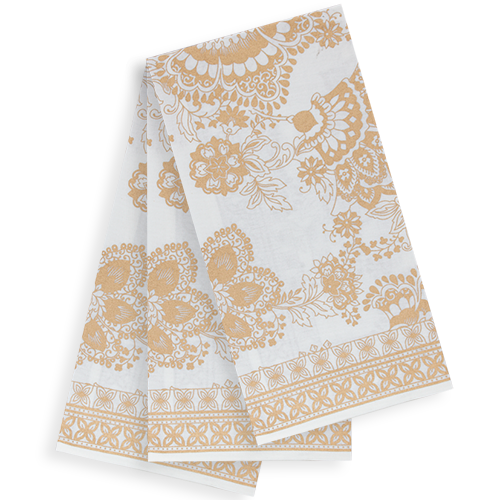 Printed Cotton Tea Towels - set of 3 - Gold