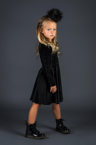 VELVET UNDERGROUND WAISTED DRESS | BLACK | ROCK YOUR BABY