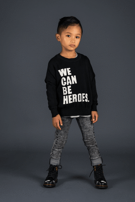WE CAN BE HEROES - PULLOVER/JUMPER - BLACK - ROCK YOUR BABY