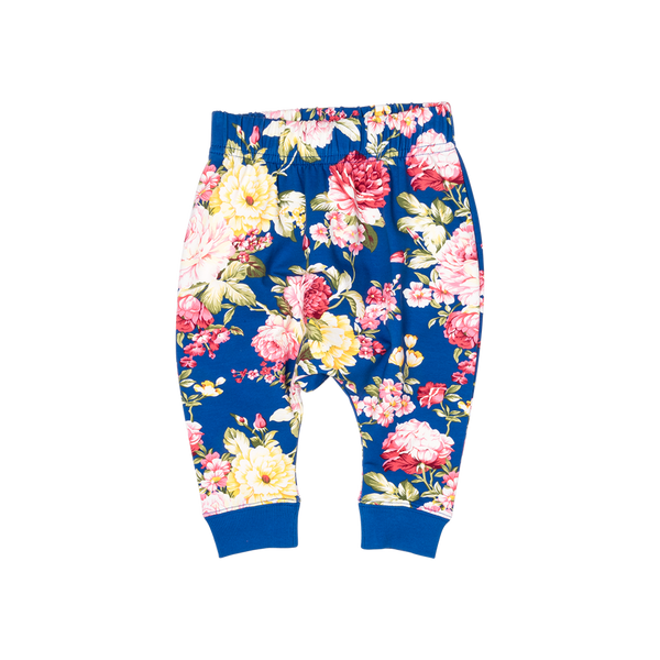 Blue Floral Baby Pants - Mellie & Me