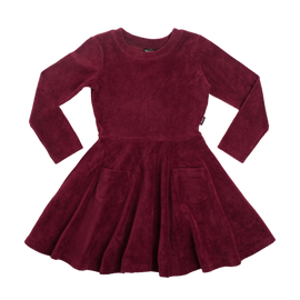 GIRLS | DRESSES | CORDUROY LONG SLEEVE WAISTED DRESS | BURGUNDY | ROCK YOUR BABY - Mellie & Me