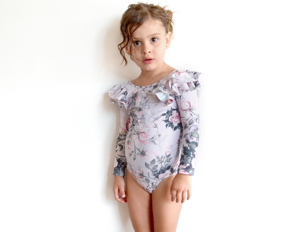 PINK ROSE DOUBLE LONG SLEEVE FRILL LEOTARD