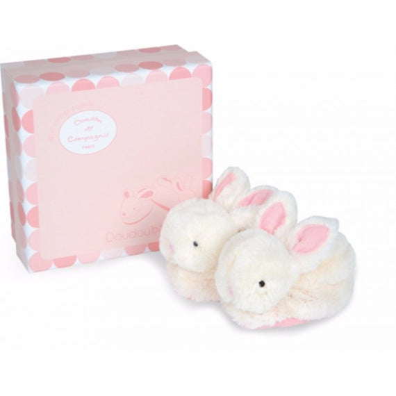 Gift Box Pink Booties with Rattles - Lapin Bonbon - Mellie & Me