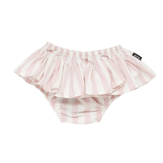 GIRLS STRIPE RUFFLE PANT |  LIGHT PINK AND WHITE | ROCK YOUR BABY | MELLIE & ME - Mellie & Me
