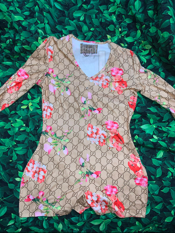 GG Floral Onesie (Long Sleeve)