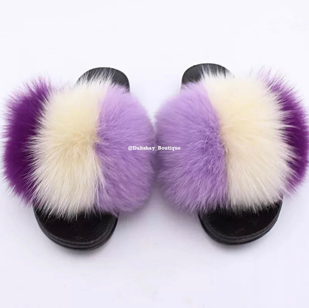Purple Mix Fur Slides