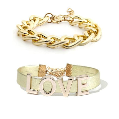 2 Pcs LOVE Chain Bracelet (2 Colors) - Golden Set