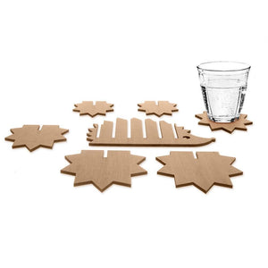 7 Pcs/Set Wooden Hedgehog Coasters