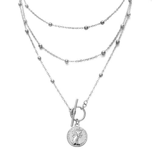 Ancient Coin Necklace With Bead Chains (2 Colors)