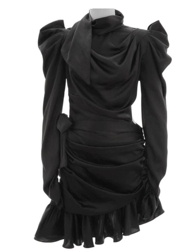 Asymmetrical Ruffle Hem Satin Dress (2 Colors) - Black / L