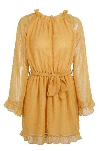 Backless Long Sleeve Mustard Dress