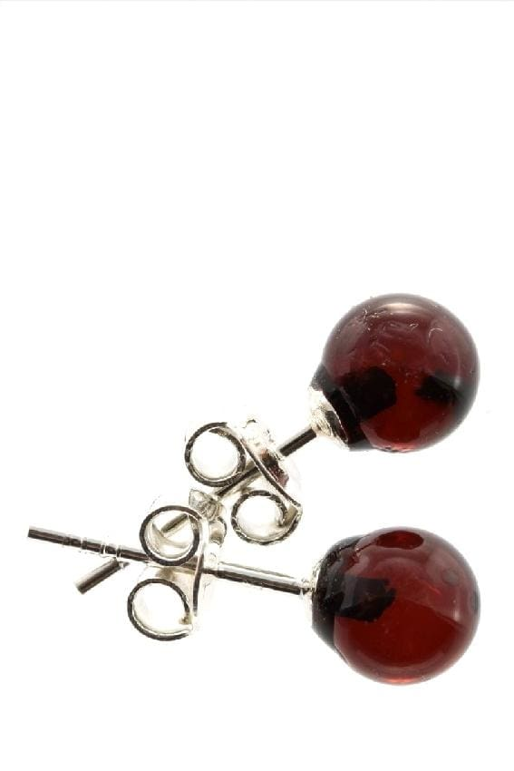 Tiny Baltic Amber Stud Earrings (2Colors) - Cherry