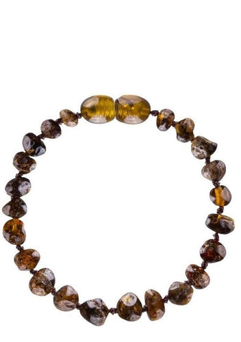 Baltic Amber Teething Bracelet/Anklet (4Colors) - Unpolished Green