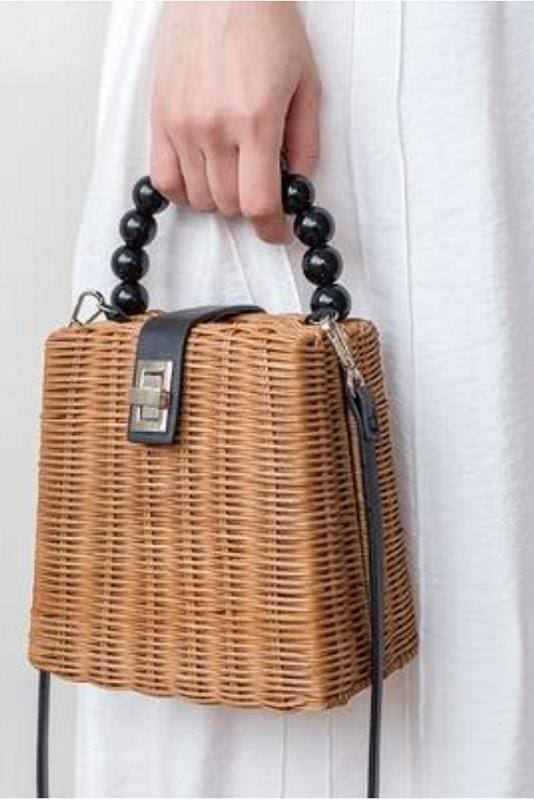 Beaded Handle Straw Bag