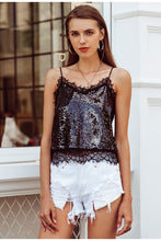 Black Lace Trim Sequined Cami