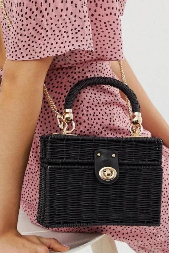 Black Rectangular Rattan Bag