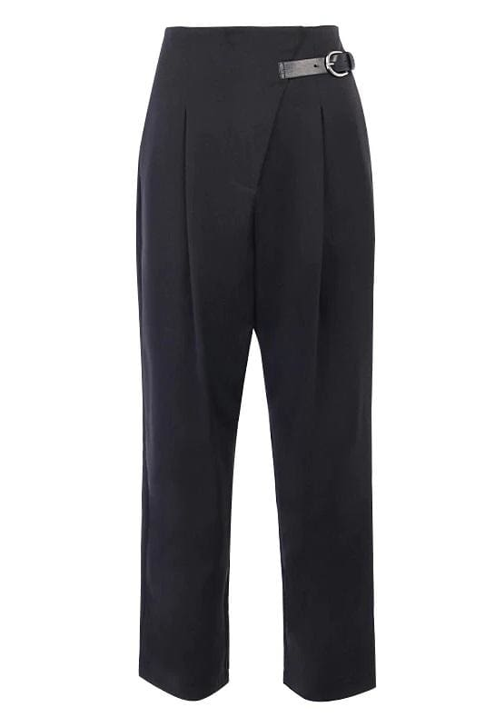 Black Side Buckle Suit Pants