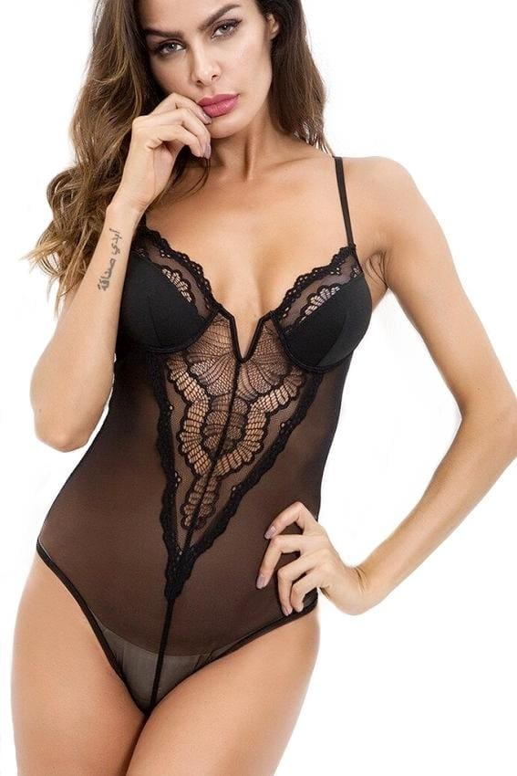 Black V Neck Lace Bodysuit