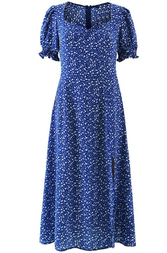 Blue Ditsy Flower Print Midi Dress