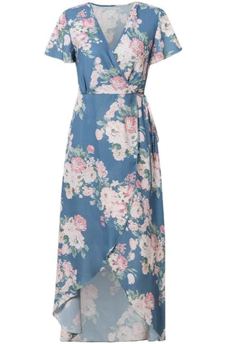Blue Floral High-Low Wrap Midi Dress