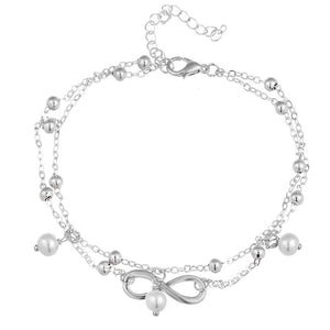 Boho Infinity Anklet - Silver
