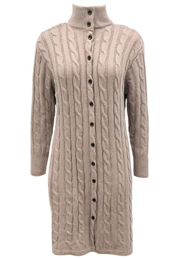 Button Down Knitted Sweater Dress
