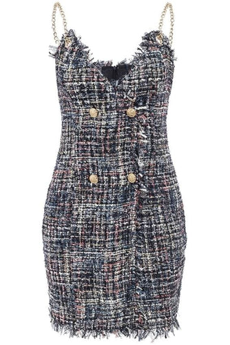 Buttoned Front Chain Strap Tweed Mini Dress