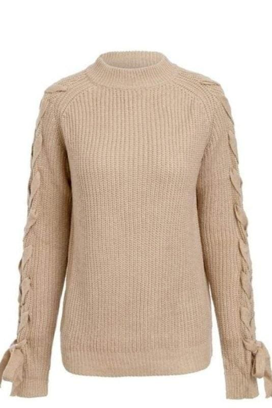 Camel Lace Up Sleeve Sweater - Camel