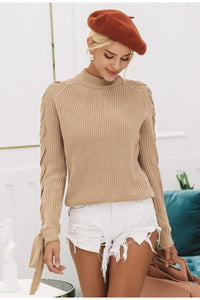 Knitted Lace Up Sleeve Sweater (2 Colors)