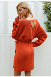 Casual Rusty Sweater Dress