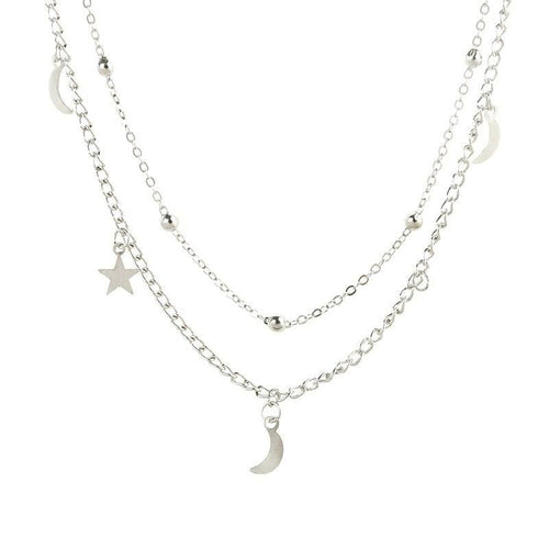 Celestial-Inspired Double Layer Necklace - Silver