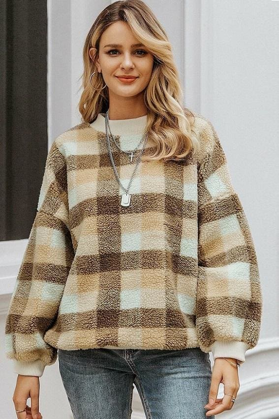 Casual Checked Fleece Mock Neck Sweater (2 Colors)