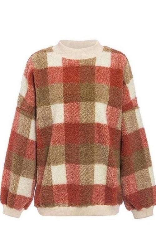 Checked Fleece Mock Neck Sweater (2∙Colors)