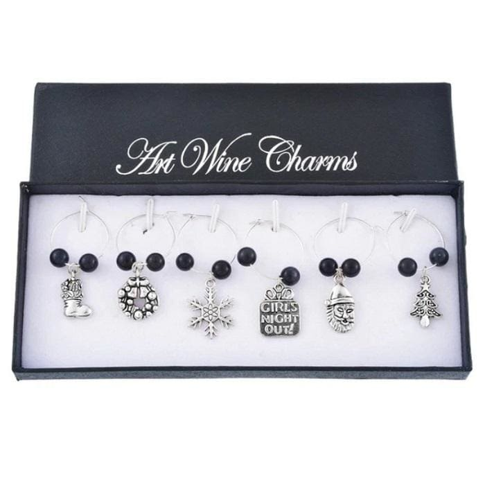 Christmas Wine Glass Charms (6 Styles) - Black