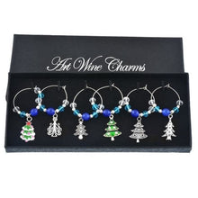 Christmas Wine Glass Charms (6 Styles) - Blue