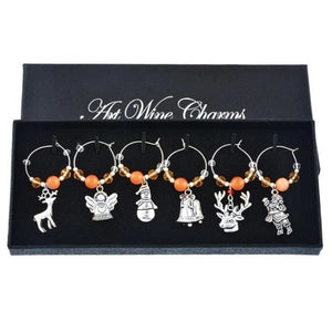 Christmas Wine Glass Charms (6 Styles) - Orange