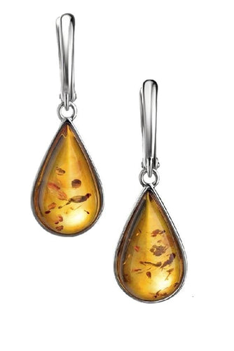 Cognac Drop Baltic Amber Earrings