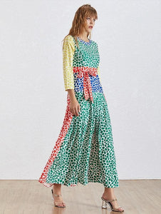 Color Patchwork Pleated Dress