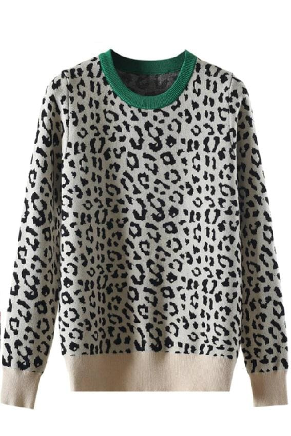 Contrast Collar Leopard Print Sweater - S / Green