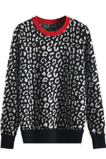 Contrast Collar Leopard Print Sweater - S / Red