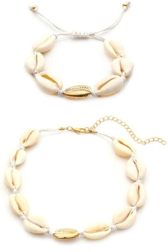 Cowrie Seashell & Gold Detail Necklace & Bracelet Set (3 Colors) - White