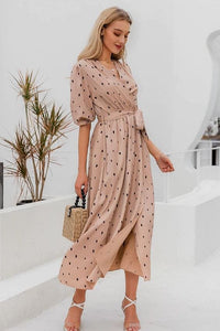 Cream Polka Dotted Wrap Midi Dress