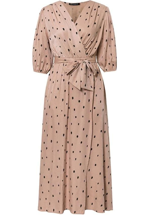 Cream Polka Dotted Wrap Midi Dress - S