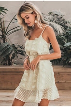 Creamy Flower Embroidery Mini Dress