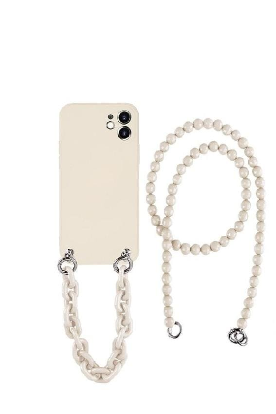Crossbody iPhone Case with Beaded Strap - for iphone 8 / Ivory