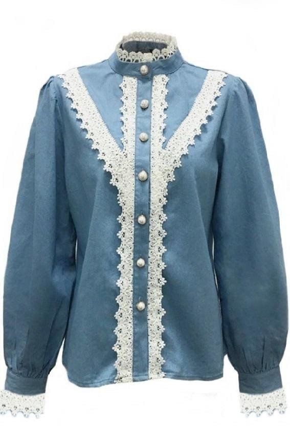 Denim Blue Button Front Lace Trim Blouse